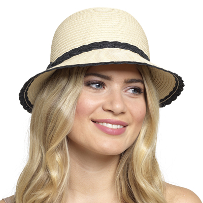 GL701, Ladies Hat with Black Trim £2.50.  pk48..