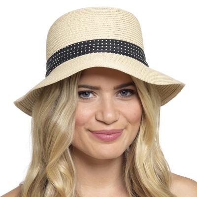 GL704, Ladies Hat with Polka Dot Ribbon £2.55.  pk48..