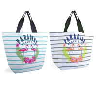 "BB1026, Ladies Striped Canvas Bag with Slogan ""Paradise Beach"" £2.85. pk6.."