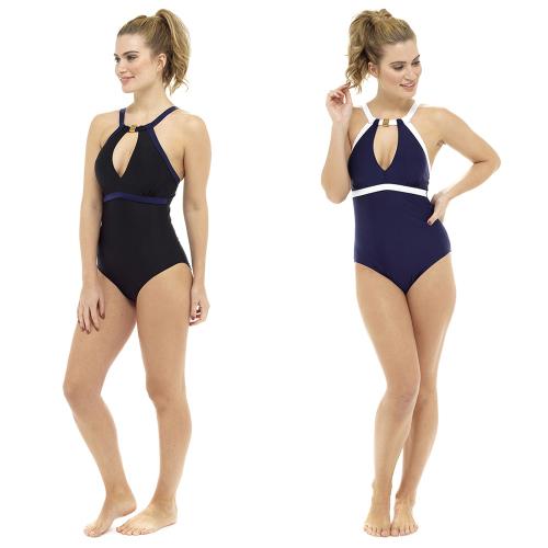 LN712, Ladies high neck contrast coloured swimsuit £9.95.  pk20..