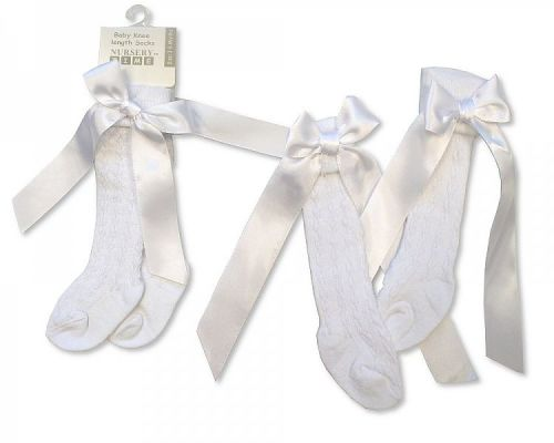 BW2164W, Baby Knee Length Socks with Bow - White £1.00.  pk12...