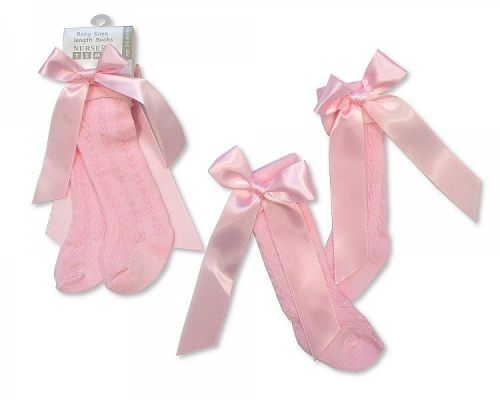 BW2164P, Baby Knee Length Socks with Bow - Pink £1.00.  pk12...