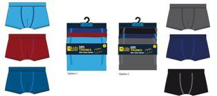 BR214, Boys 3 in a pack trunks £2.75.  12 pks....