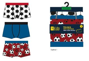 BR216, Boys 3 in a pack trunks with football design £3.25.  12pks....
