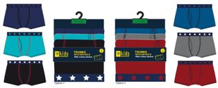 BR218, Boys 3 in a pack trunks with keyhole £3.35.  12 pks....