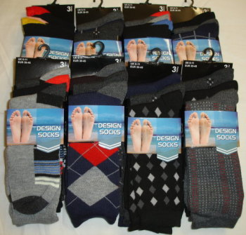*CTN10, 30 Dozen (360 pairs) Mens 3pk Assorted Design Socks £3.60 per dozen......