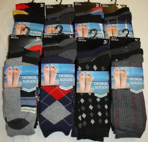 CTN10, 30 Dozen (360 pairs) Mens 3pk Assorted Design Socks £3.60 per dozen.