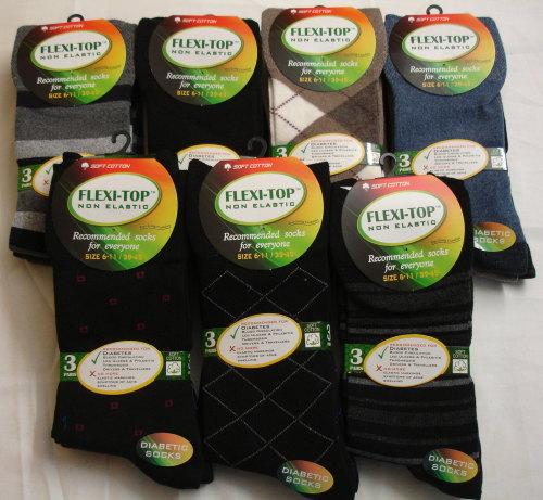 CTN12, 30 dozen (360 pairs) Mens 3pk Assorted Non Elastic Socks £4.25 per d