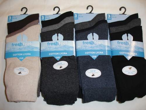 RH151, Mens 3 in a pack fashion assorted lycra socks £1.00.  1 dozen...