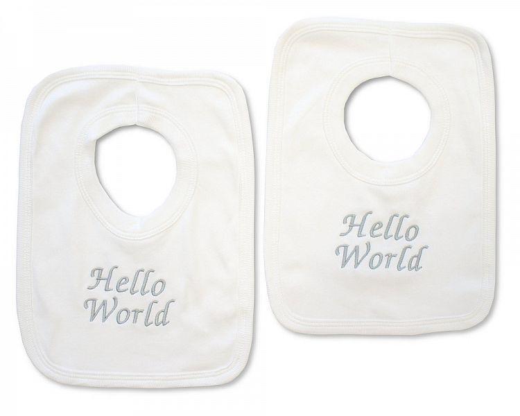 BW509, Baby Cotton Pop-Over Bib - Hello World £2.50.  PK6..