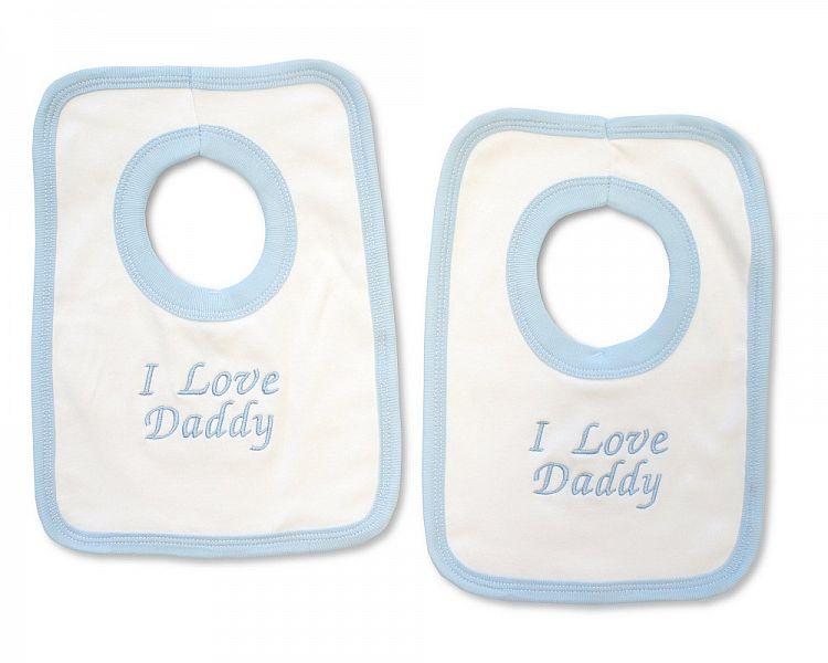 BW507, Baby Boys Cotton Pop-Over Bib - I Love Daddy £2.50.  PK6..