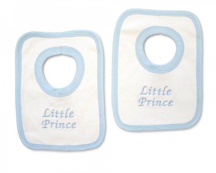 BW504, Baby Boys Cotton Pop-Over Bib - Little Prince £2.50.  PK6..