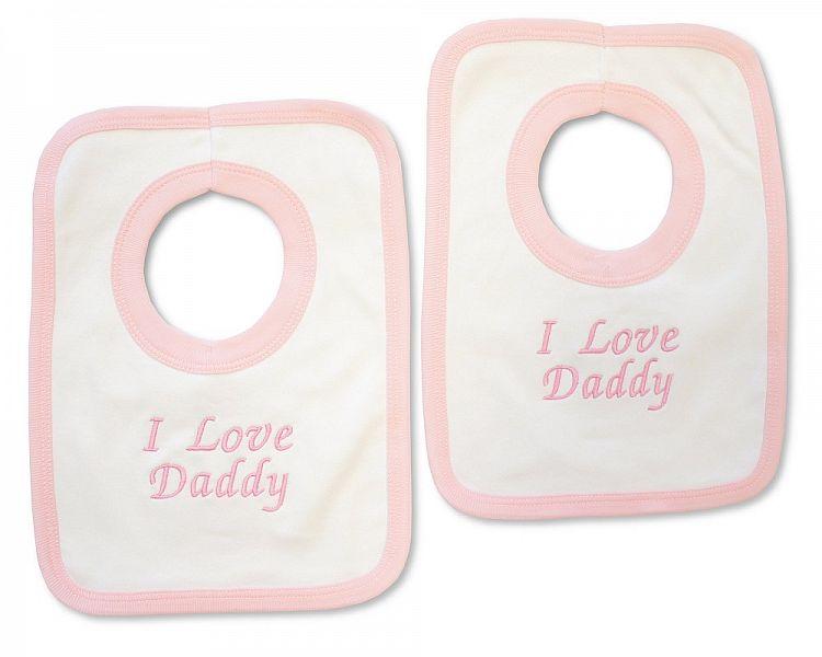 BW503, Baby Girls Cotton Pop-Over Bib - I Love Daddy £2.50.  PK6..