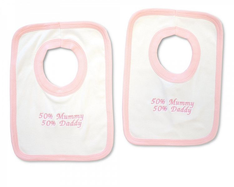 BW501, Baby Girls Cotton Pop-Over Bib - 50% Mummy/ 50% Daddy £2.50.  PK6..