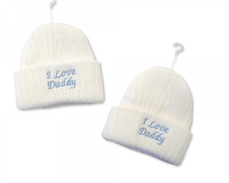BW448, Baby Boys Knitted Hat - I Love Daddy £2.10.  PK6..