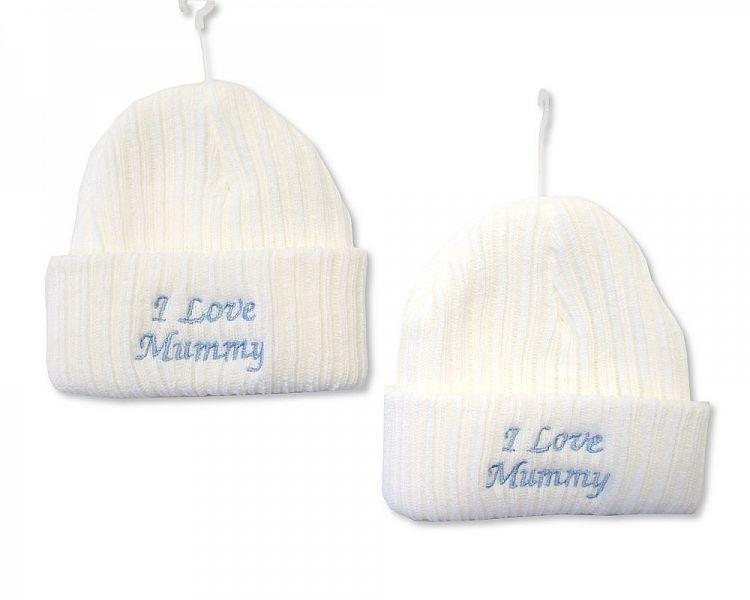 BW447, Baby Boys Knitted Hat - I Love Mummy £2.10.  PK6..