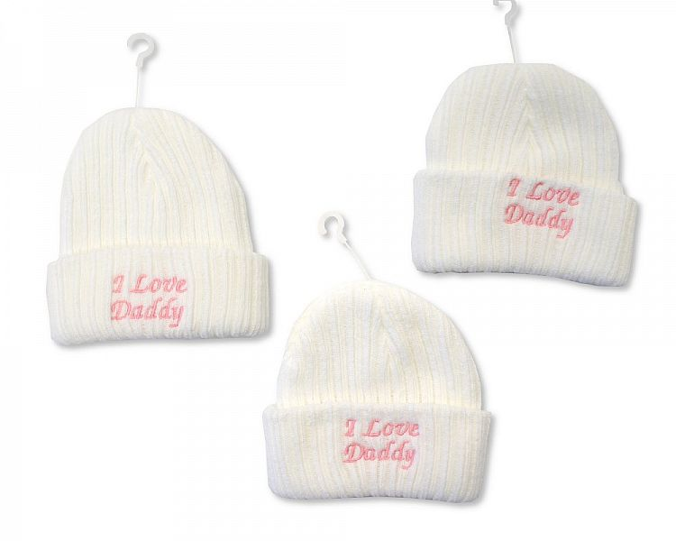 *BW446, Baby Girls Knitted Hat - I Love Daddy £2.10.  PK6..