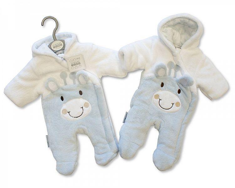 BIS2109S, Baby Padded Snowsuit - Giraffe - Sky £10.95.  PK6..