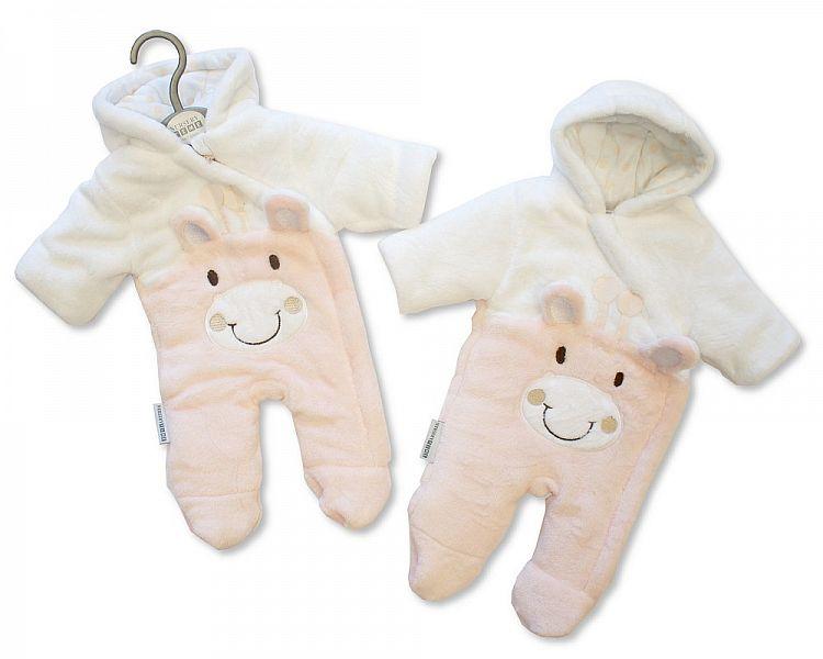 BIS2109P, Baby Padded Snowsuit - Giraffe - Pink £10.95.  PK6..