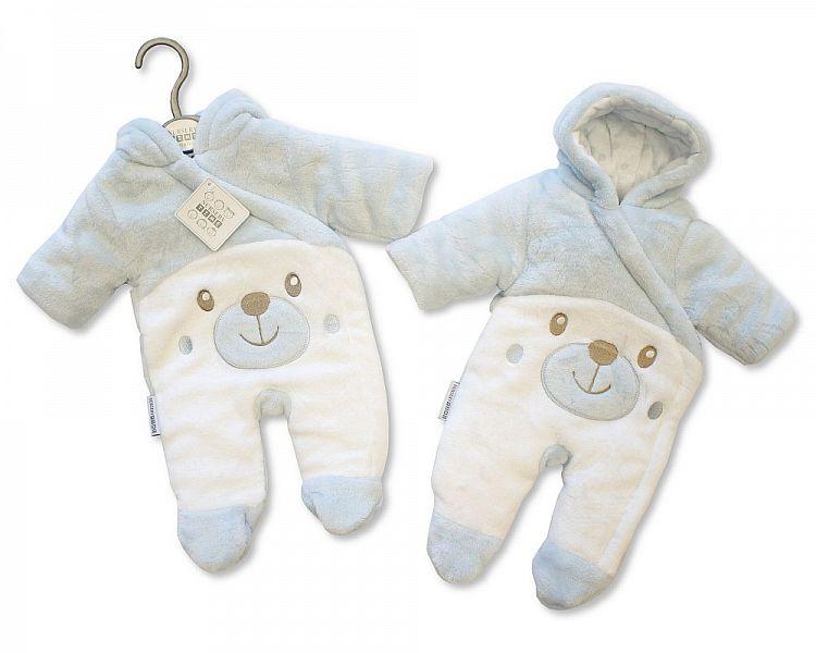 BIS2108S, Baby Padded Snowsuit - Teddy - Sky £10.95.  PK6..
