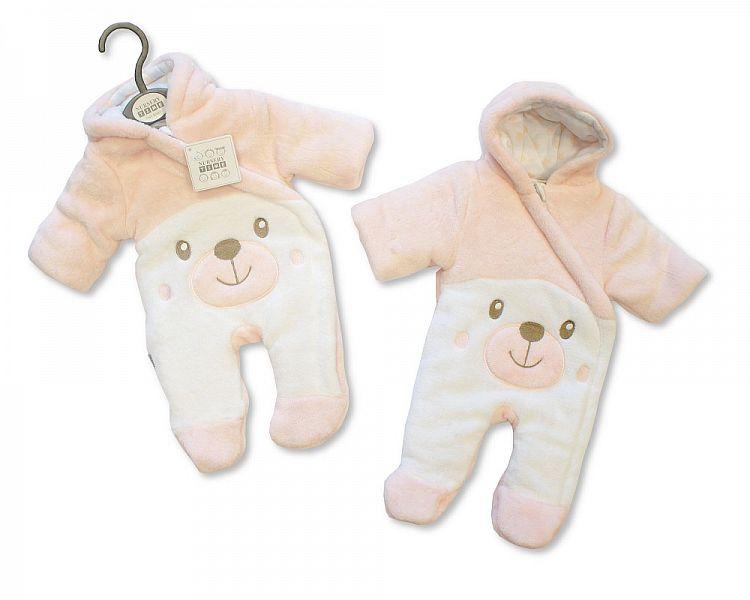 BIS2108P, Baby Padded Snowsuit - Teddy - Pink £10.95.  PK6..