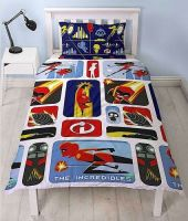 "*V45, Official ""Incredibles 2""""Retro"" Reversible Single Duvet Cover Set £7.80.  pk3.."