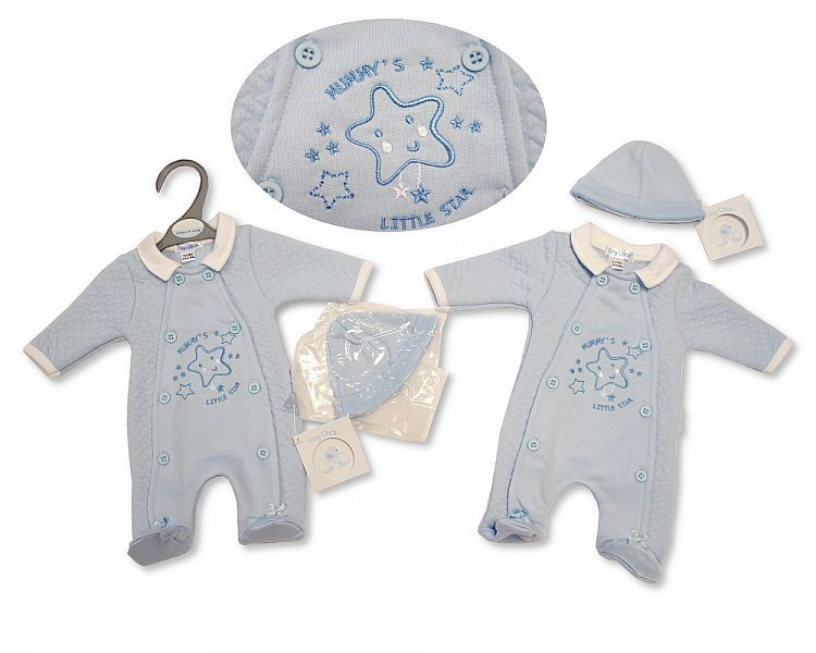 *PB318, Premature Baby Boys All in One with Hat - Mummy's Little Star £5.95