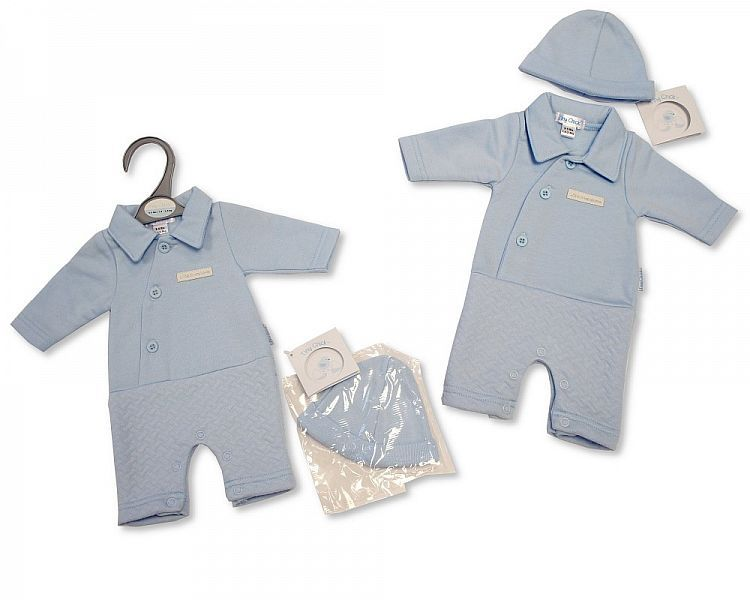 *PB316, Premature Baby Boys Open-Feet All in One with Hat - Little and Hand