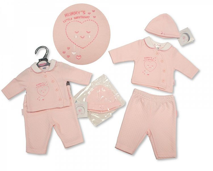 PB314, Premature Baby Girls 2 Pieces Set with Hat - Mummy's Little Sweethea