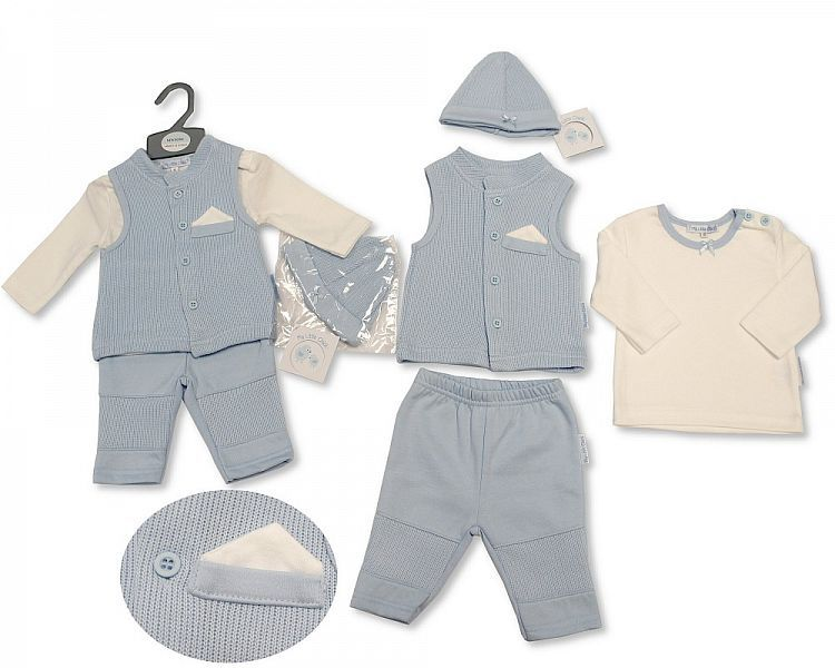 BIS2104, Baby Boys Ribbed 3 Pieces Gilet Set with Hat £7.90.  PK6..