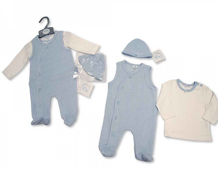 BIS2103, Baby Boys Ribbed 2 Pieces Romper Set with Hat £7.20.  PK6..