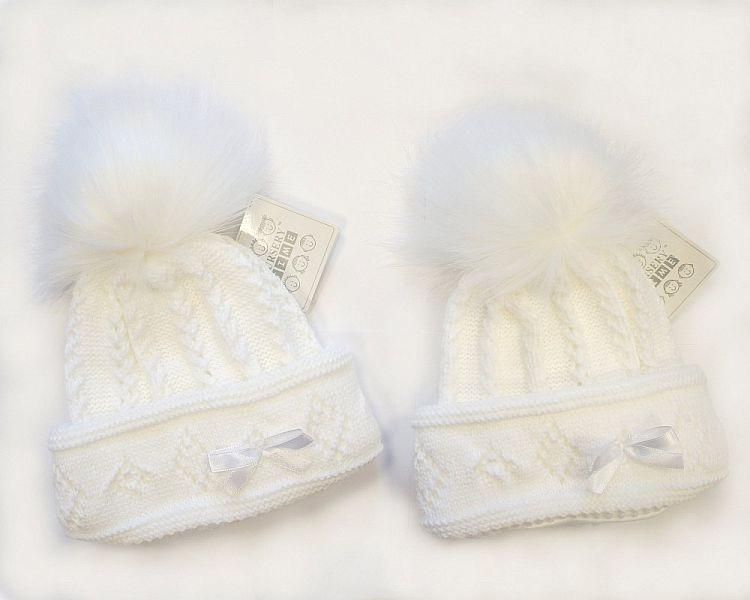 BW329W, Baby Girls Pom-Pom Hat with Cotton Lining £5.70.  PK6..