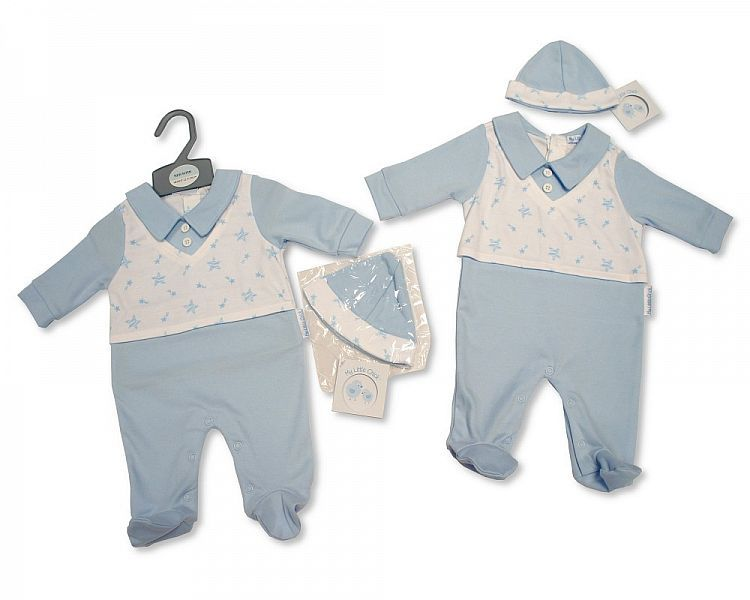 BIS2094, Baby Boys All in One with Hat and Faux Top - Stars £5.95.  PK6..