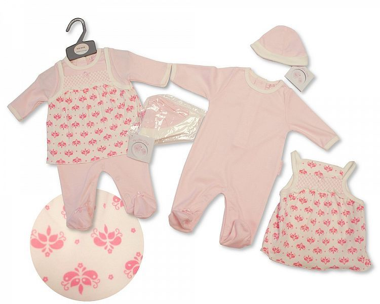 BIS2077, Baby Girls Smocked 2 Pieces Set with Hat - Flowers £6.60.  PK6..