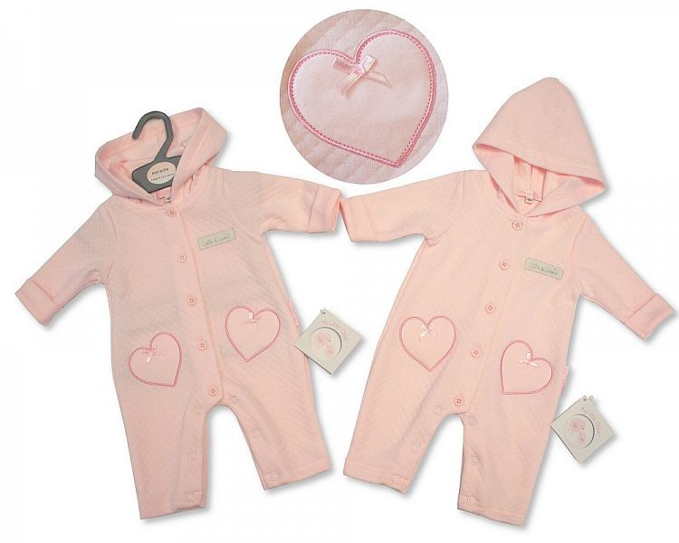 BIS2074, Baby Girls Hooded All in One - Little and Loved £6.60.  PK6..