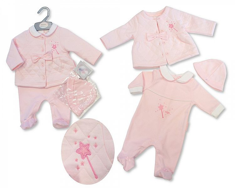 BIS2068, Baby Girls All in One with Jacket and Hat - I Wish £7.90.  PK6..