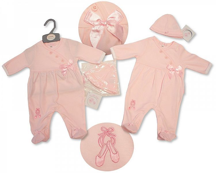 BIS2066, Baby Girls All in One with Bow and Hat - Ballerina £5.95.  PK6..