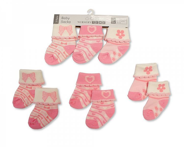 BW2191, Baby girls 3 in a pack socks £1.20.  8pks...
