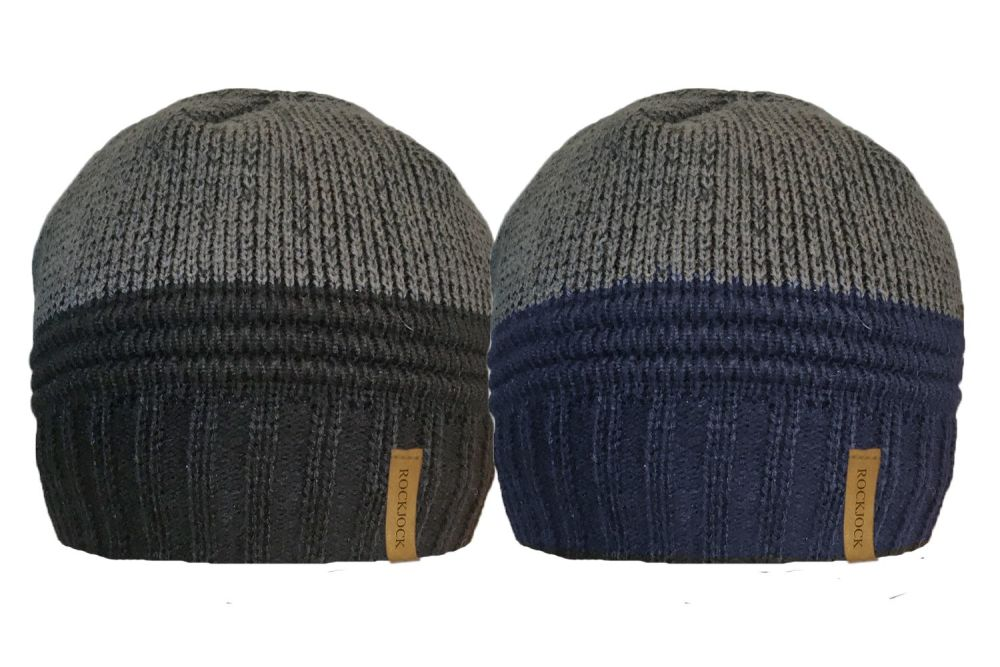 HAI685, Mens 2 tone Beanie Hat with Cosy Fleece Liner £1.19.  pk12..