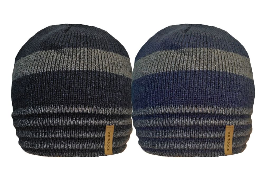 HAI686, Mens 2 tone Stripe Beanie Hat with Cosy Fleece Liner £1.19.  pk12..