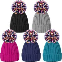 HAI694, Ladies Rib Knit Hat with Multicolour Yarn Pom Pom £2.00.  pk12..