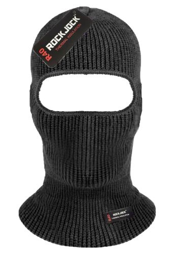 HAI741, Adults open face black balaclava with RockJock R40