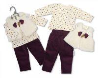 BIS2127, Baby Girls 3 Pieces Leggings Set - Woodland (Leggings, Gilet, Top) £7.90.  PK6..