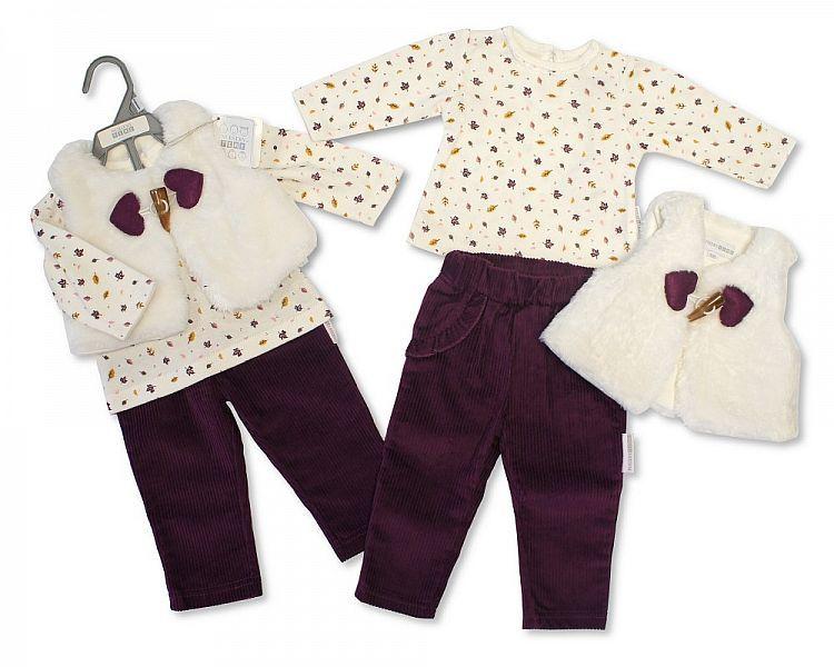 BIS2127, Baby Girls 3 Pieces Leggings Set - Woodland (Leggings, Gilet, Top)