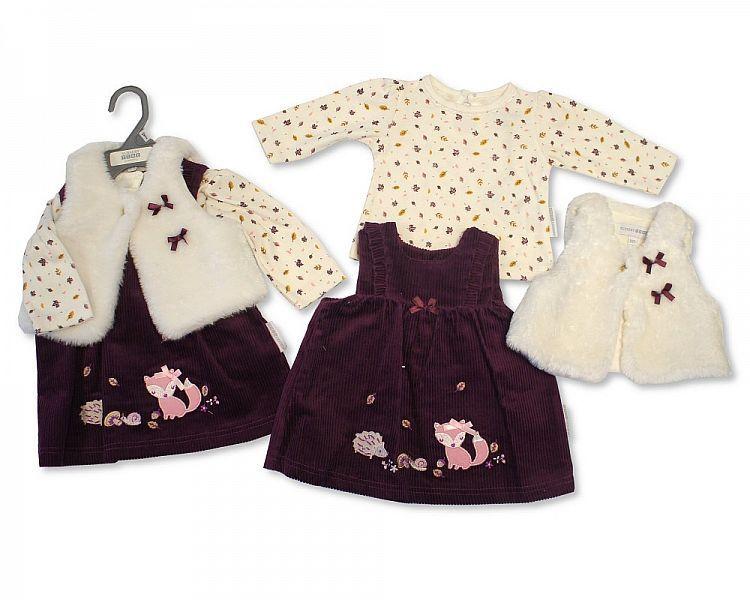 BIS2126, Baby Girls 3 Pieces Dress Set - Woodland (Dress, Gilet, Top) £9.50