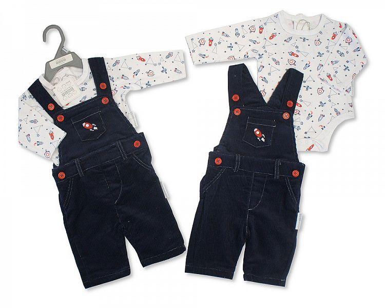 BIS2115, Baby Boys Dungaree Set - Rocket (Dungaree, Long Sleeved Bodysuit)