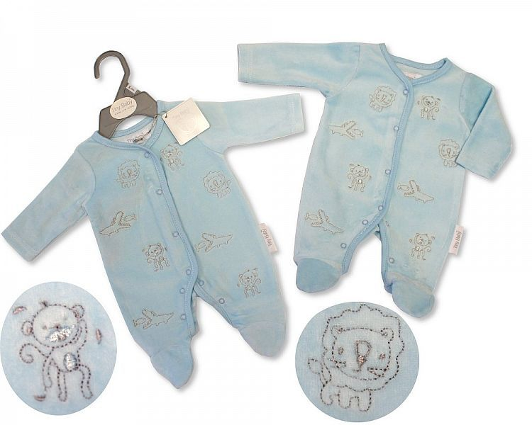 *PB0071, Premature Baby Boys Velour All in One - Jungle £3.95.  PK6..