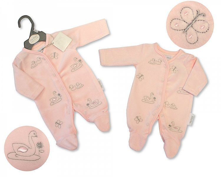 *PB0070, Premature Baby Girls Velour All in One - Swan £3.95.  pk6..