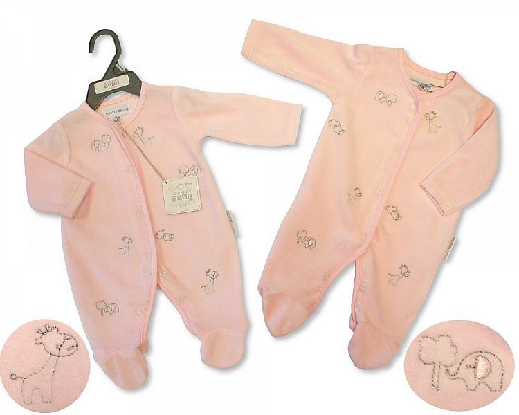 PB365, Baby Girls Velour All in One - Animals £3.95.  PK6..