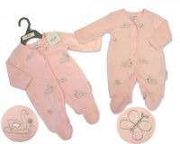BW363, Baby Girls Velour All in One - Swan £3.95.  PK6..